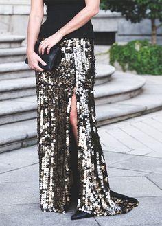 beaded skirt + black t-