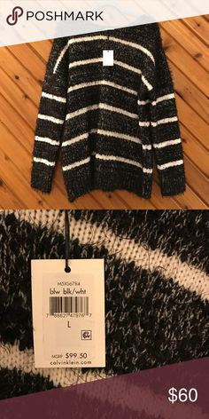 Calvin Klein striped sweater Warm, soft, and fuzzy!!! Perfect for those who wear a S-M but want that oversized fit. No trades but all offers are welcomed! Calvin Klein Sweaters Crew & Scoop Necks