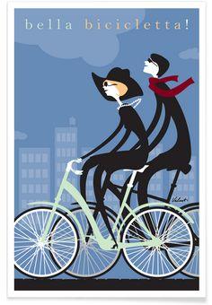 Bella Bicicletta als Premium Poster door Michael Valenti | JUNIQE
