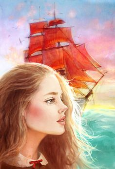 """A little girl Assol met a wizard and it has been foretold: """"... it will be a fine sunny day when a beautiful ship under scarlet sail comes and the noble prince will take you away from here..."""