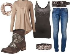 Casual outfit sparkling brown