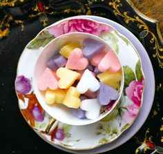 sugar hearts. would be so cute to serve at the tea party or given as favors.