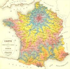 Carte des communications rapides entre Paris et le reste de la France, 1882
