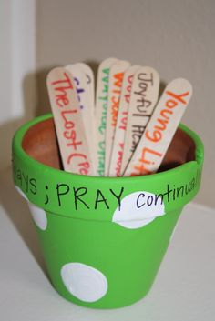 Prayer Sticks - Popsicle Sticks with special intentions or names of special people. Helps teach children to pray!