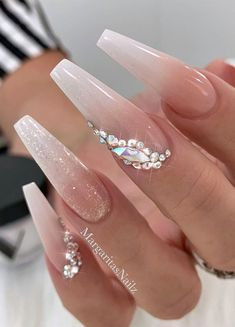 57 Gorgeous wedding nail designs for brides, bridal nails .- 57 gorgeous wedding nail designs for brides, bridal nails wedding nails, bride, wedding nails wit … - Bride Nails, Prom Nails, Wedding Nails For Bride, Bling Wedding, Trendy Wedding, Wedding Makeup, Coffin Nails Long, Long Nails, Coffin Shape Nails
