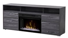 The modern Dimplex Sander Electric Fireplace Media Console - Carbonized Walnut is crafted from solid wood and veneer with chromed feet and hardware,. Free Standing Electric Fireplace, Dimplex Electric Fireplace, Electric Fireplace Tv Stand, Fireplace Media Console, Tv Fireplace, Living Room Wall Units, Cool Tv Stands, Fireplace Accessories, Entertainment Center