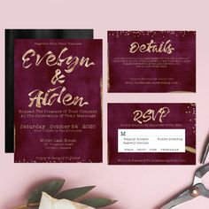 Printable Wedding Invitation Watercolor Floral Wedding - Elegant Wedding Stationery Watercolor Burgundy Faux Gold Foil Set Detail Card RSVP by OnionSisterCreative on Etsy Burgundy Wedding Invitations, Rehearsal Dinner Invitations, Watercolor Wedding Invitations, Printable Wedding Invitations, Wedding Invitation Sets, Bridal Shower Invitations, Wedding Stationery, Wedding Menu, Elegant Wedding