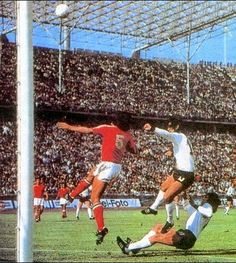 West Germany 1 Chile 0 in 1974 in Berlin. Gerd Muller heads a chance over the bar in Group 1 at the World Cup Finals.