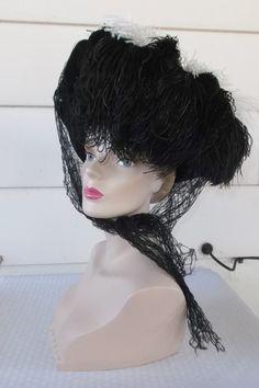 1940s Vintage Black Felt Hat with Black & by MyVintageHatShop
