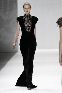 Tadashi Shoji fall '12 black velvet with lace & sequin