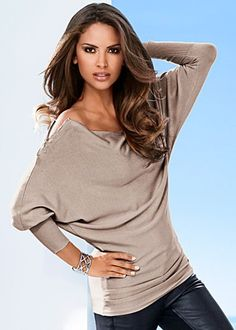 Zipper detail sweater by VENUS available in red or taupe in sizes XS - L