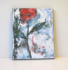 Red Still life Abstract Acrylic Flower Painting by BrookeHowie