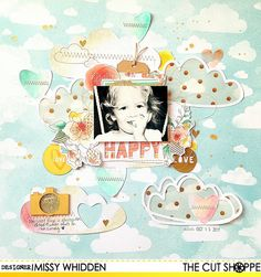 """Happy by Missy Whidden uses """"Happy Little Clouds"""" cut file from The Cut Shoppe."""