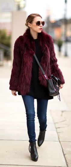 Colorful winter coats outfit ideas