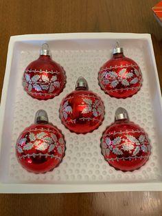 6 X Or Vintage Bijoux Noël Festif Handmade Glass Baubles