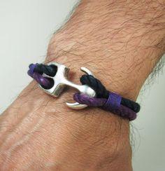 Herren-Armband / nautische Armband Anker Armband - Armband lila Seil - Segeln / Unisex Armband / Marine Armband  MESSUNG:  Wählen Sie die Maßnahme am Handgelenk von Optimum-Massen. Wenn Sie keine Messung Band ein Stück Schnur zu verwenden oder ein Streifen Papier nur wickeln Sie es um Ihr Handgelenk und dann lag es unten auf einem Lineal und nehmen Sie der Messung so. Bitte DO NOT ADD EXTRARAUM bei der Messung  16 cm - 6,3 Zoll 17 cm - 6,7 Zoll 18 cm - 7,1 Zoll 19 cm - 7,5 Zoll 20 cm - 7.9…