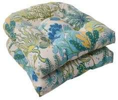 Pillow Perfect Outdoor 2-Piece Wicker Seat Cushion Set - Green/Blue Ocean Scene