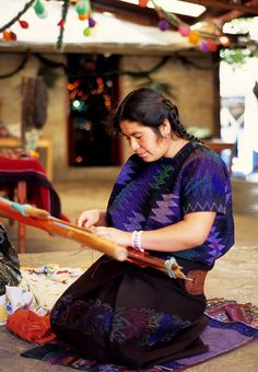 Lucia Weaving Mexico    Lucia, a Maya woman, weaves on her backstrap loom in Chiapas Mexico