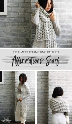 Affirmations Scarf pattern by Two of Wands Finger Knitting, Easy Knitting, Loom Knitting, Baby Knitting Patterns, Knitting Stitches, Stitch Patterns, Scarf Patterns, Knitting Machine, Knitting Tutorials