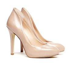 Platform Leather Pumps with High Rise Back in Nude.