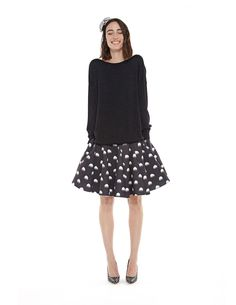Jellypre skirt. Pleated neoprene skirt creates a full, feminine silhouette with accentuated waistline. Created with a raw edge hemline and fading dot print for a modern look. #loveisessentiel