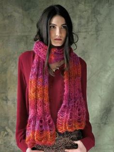 Enchant - Knit this ladies accessory scarf with loop stitch detail from The Amore Collection. A design by Lisa Richardson using Kidsilk Amore, a multi...