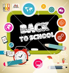 Back to school title on black board with education vector by mejn on VectorStock®