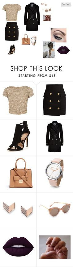 """Sem título #4"" by laurenmello-473 on Polyvore featuring Alice + Olivia, Balmain, Burberry, Michael Kors, FOSSIL, Illesteva, Mehron e Lime Crime"