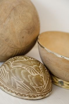 Hand etched gourds with silver rim