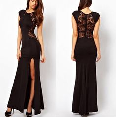 Love this high slit, lace back, black dress