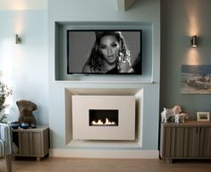 Recessed Flueless Gas Fire - Classico Widescreen Limestone with TV above by Ben Huckerby Design Wall Design, Tv Above Fireplace, Tv Wall Design, House Architecture Design, Contemporary Fireplace, Fake Walls, Fireplace, Fireplaces Uk, Gas Fires