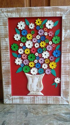 Crafts With Pictures, Flower Pictures, Rock Crafts, Diy And Crafts, Inspiration Artistique, Wall Hanging Crafts, Cardboard Art, Pine Cone Crafts, Craft Night