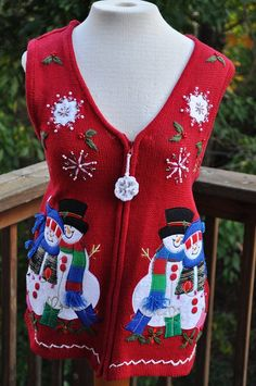 f1d4ef3f784 Ugly Christmas Sweater. Red Knit Holiday Top. by Purl1VintageToo