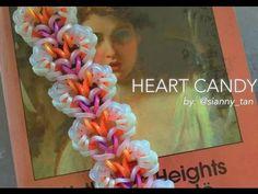 HEART CANDY Hook Only bracelet tutorial Crazy Loom Bracelets, Rainbow Loom Bracelets Easy, Loom Band Bracelets, Rainbow Loom Tutorials, Rainbow Loom Patterns, Rainbow Loom Creations, Rainbow Loom Bands, Rainbow Loom Charms, Candy Bracelet