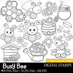 Busy Bees Digital stamps Bee stamps Line by pixelpaperprints