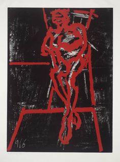 Frank Auerbach ~ Seated Figure, 1966 (screenprint on paper)