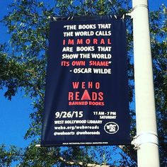 Oscar Wilde was imprisoned for 2 years and died penniless b/c his homosexuality. We think he'd get a kick of seeing his words on street banners in #weho - join us tomorrow for #wehoreads