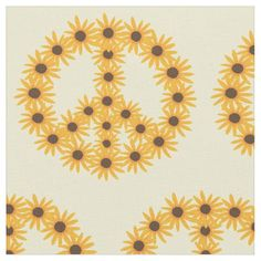 This fabric is apt to brighten up any room - Sunflower Peace Sign Custom Fabric. The background color of light yellow can be customized. The peace signs were made by using a painting of a sunflower that I had done.