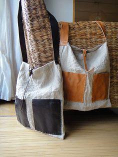 Hand Stitched Leather X Linen Shoulder Bag by Asaborake, via Flickr: