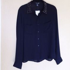 """New Black Studded Collar Button-up Blouse New with tags. Black sheer button-up top, long sleeves, and a silver studded collar. 2 pockets on front of shirt. Length from top to bottom is approx 24""""❌NO TRADES OR PAYPAL❌ PRICE IS FIRM EVEN IF BUNDLED Forever 21 Tops Button Down Shirts"""