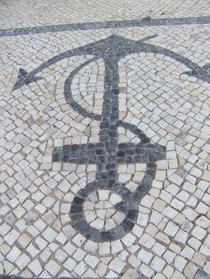 Portuguese Pavement (Calçada) in Vila Real Santo Antonio - Algarve Sky Garden, Dream Garden, Algarve, Vila Real Portugal, Crazy Paving, Compass Design, San Antonio, Cool Artwork, Outdoor Gardens
