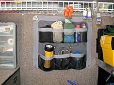 one of the many 44 Cheap And Easy Ways To Organize Your RV/Camper Shoe organizers provide convenient storage anywhere. This would work well in the storage area of the popup camper to stow all the little odds & ends like adapters and such. Camping Storage, Rv Storage, Space Saving Storage, Wall Storage, Storage Ideas, Kitchen Storage, Storage Design, Food Storage, Cutlery Storage