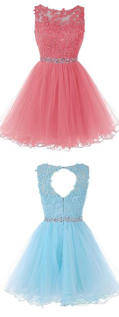 Cheap Splendid Short Prom Dress Scoop Short Blue Zipper-up Tulle Homecoming Dress Dama Dresses, Cute Prom Dresses, Quince Dresses, Prom Dresses 2018, Grad Dresses, Quinceanera Dresses, Dresses For Teens, 15 Dresses, Trendy Dresses