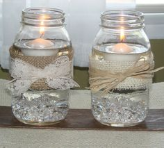 rustic wedding jars with burlap