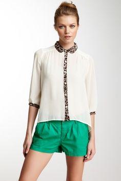 $16.00 - Lush Leopard Print Contrast Blouse by Pretty In Prints on @HauteLook