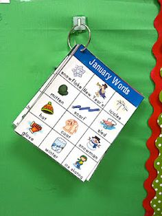 Great way to have monthly vocabulary displayed.  Increase language skills by reading stories with thematic words.
