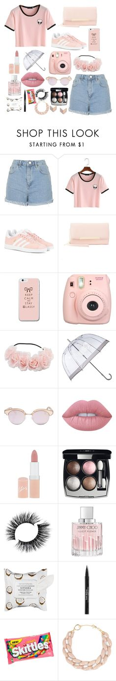 """It's pink"" by luisinf ❤ liked on Polyvore featuring Topshop, adidas Originals, Charlotte Russe, Fujifilm, Fulton, Le Specs, Lime Crime, Rimmel, Chanel and Jimmy Choo"