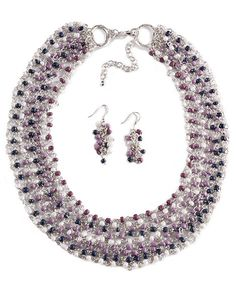 Tiny Beaded Multi-Strand Necklace & Earring Set