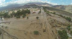 La vista aérea de las calles inundadas de Copiapó, tras el aluvión y intensas lluvias que afectaron a la capital de Atacama que provocaron grandes destrozos, Marzo 2015