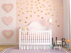 Gold heart decals, gold confetti hearts, wall pattern decals, Gold heart stickers